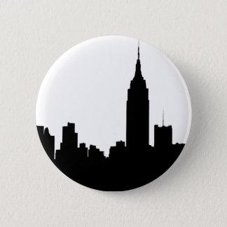 NYC Skyline Silhouette, Empire State Bldg #1 6 Cm Round Badge