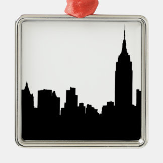NYC Skyline Silhouette, Empire State Bldg #1 Silver-Colored Square Decoration
