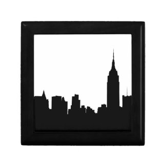 NYC Skyline Silhouette, Empire State Bldg #1 Small Square Gift Box