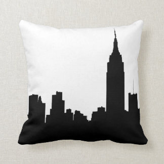 NYC Skyline Silhouette, Empire State Bldg #1 Throw Cushion