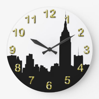 NYC Skyline Silhouette, Empire State Bldg #1 Wall Clock