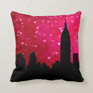 NYC Skyline Silhouette, ESB #1 Pink Red Heart Cushions