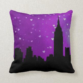 NYC Skyline Silhouette, ESB #1 Purple Heart Cushion