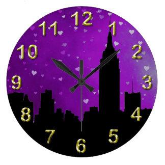 NYC Skyline Silhouette, ESB #1 Purple Hearts Wall Clocks