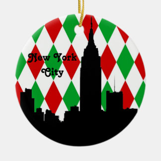 NYC Skyline Silhouette ESB Red Grn Harlequin Xmas Christmas Ornament