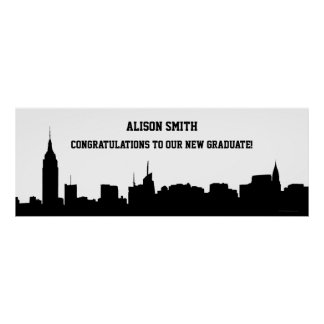 NYC Skyline Silhouette Graduation Party Banner Posters