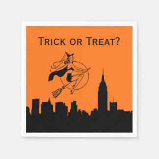 NYC Skyline Silhouette Halloween Cheeky Witch Disposable Serviettes