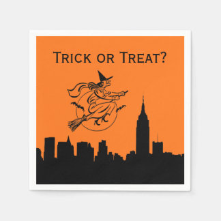 NYC Skyline Silhouette Halloween Flying Witch Paper Serviettes