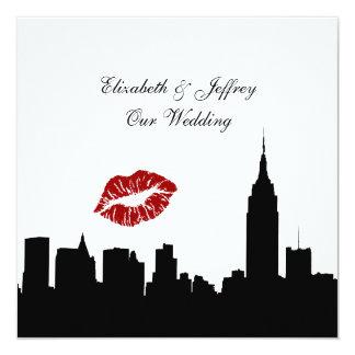 NYC Skyline Silhouette, Kiss ESB #1 BW Wedding SQ 5.25x5.25 Square Paper Invitation Card