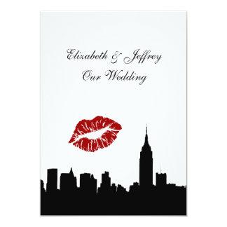 "NYC Skyline Silhouette, Kiss ESB #1 BW Wedding V 5"" X 7"" Invitation Card"