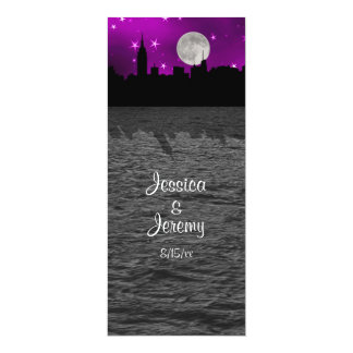 NYC Skyline Silhouette Moon Purple Menu Reception 10 Cm X 24 Cm Invitation Card