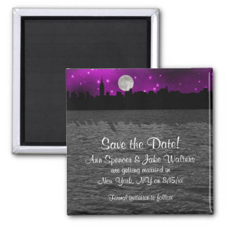 NYC Skyline Silhouette Moon Purple Save the Date Square Magnet