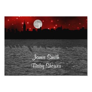 NYC Skyline Silhouette Moon Red Baby Shower 13 Cm X 18 Cm Invitation Card