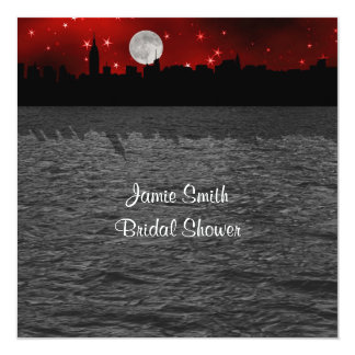 "NYC Skyline Silhouette Moon Red Bridal Shower SQ 5.25"" Square Invitation Card"