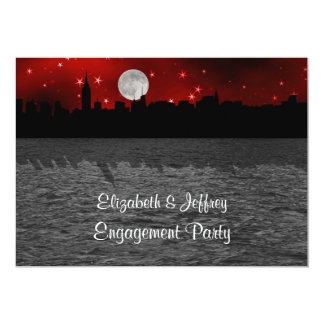 NYC Skyline Silhouette Moon Red Engagement 5x7 Paper Invitation Card