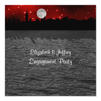 NYC Skyline Silhouette Moon Red Engagement SQ 13 Cm X 13 Cm Square Invitation Card