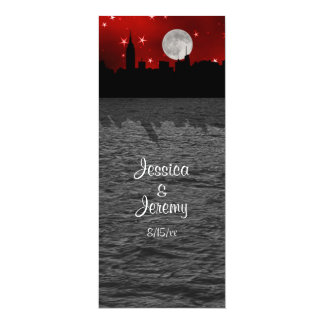 NYC Skyline Silhouette Moon Red Menu Reception 10 Cm X 24 Cm Invitation Card
