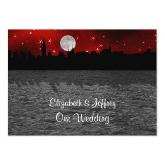 NYC Skyline Silhouette Moon Red Wedding 13 Cm X 18 Cm Invitation Card