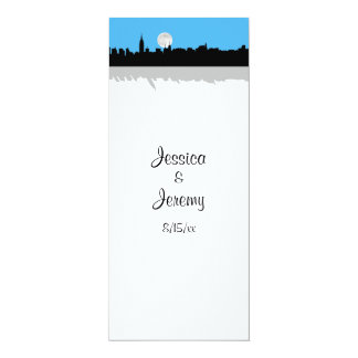 NYC Skyline Silhouette Moon Sky Blu Menu Reception 10 Cm X 24 Cm Invitation Card