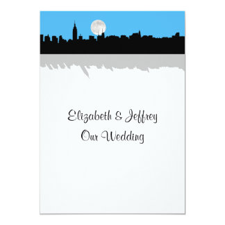 NYC Skyline Silhouette Moon Sky Blue Wedding 13 Cm X 18 Cm Invitation Card