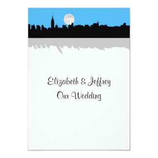 NYC Skyline Silhouette Moon Sky Blue Wedding 13 Cm X 18 Cm Invitation Card