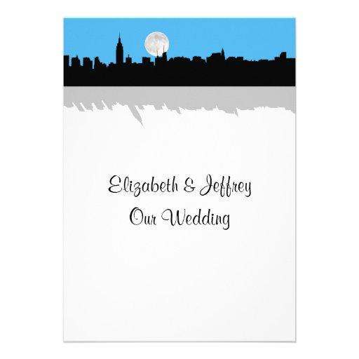NYC Skyline Silhouette Moon Sky Blue Wedding Custom Invitations