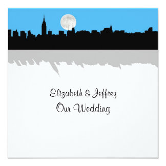 NYC Skyline Silhouette Moon Sky Blue Wedding SQ 13 Cm X 13 Cm Square Invitation Card