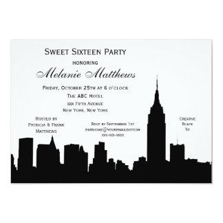 NYC Skyline Silhouette Sweet Sixteen 13 Cm X 18 Cm Invitation Card