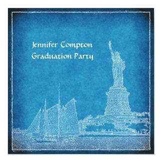 "NYC Skyline St of Liberty Blue Wht Graduation Pty 5.25"" Square Invitation Card"