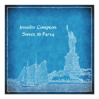 NYC Skyline St of Liberty Sweet 16 Party Blue Wht 13 Cm X 13 Cm Square Invitation Card