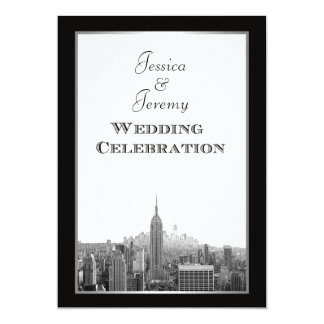 NYC Skyline Top of the Rock ESB Etched Wedding 13 Cm X 18 Cm Invitation Card