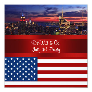 NYC Skyline USA Flag Red White Blue #2 Party SQ2 5.25x5.25 Square Paper Invitation Card