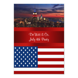 NYC Skyline USA Flag Red White Blue #3 Party SQ2 5x7 Paper Invitation Card