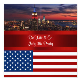 NYC Skyline USA Flag Red White Blue 3 Party SQ2 Announcement