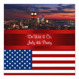 NYC Skyline USA Flag Red White Blue #3 Party SQ2 5.25x5.25 Square Paper Invitation Card