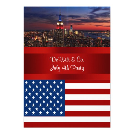 NYC Skyline USA Flag Red White Blue #3 Party SQ2 Invitations