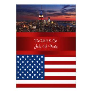 NYC Skyline USA Flag Red White Blue 3 Party SQ2 Invitations