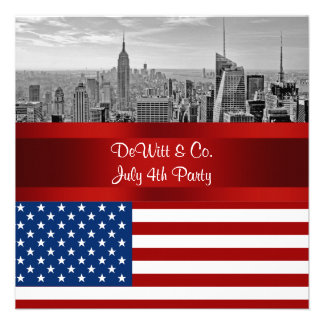 NYC Skyline USA Flag Red White Blue Party Personalized Invitations