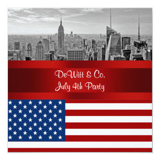 NYC Skyline USA Flag Red White Blue Party 5.25x5.25 Square Paper Invitation Card