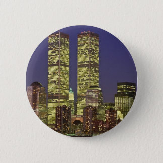 NYC Skyline With World Trade Center At Night 6 Cm Round Badge