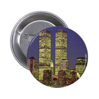 NYC Skyline With World Trade Center At Night 6 Cm Round Badge