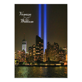 NYC Skyline: WTC 9/11 Tribute In Light #1 Wedding 13 Cm X 18 Cm Invitation Card