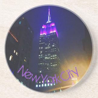 NYC Skyscraper Purple Empire State Building Night Coaster