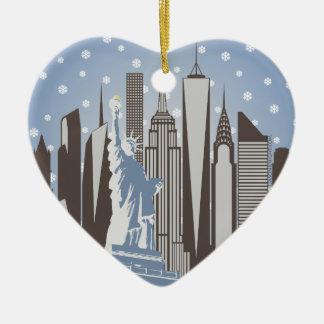 NYC Snowflakes Ceramic Heart Decoration
