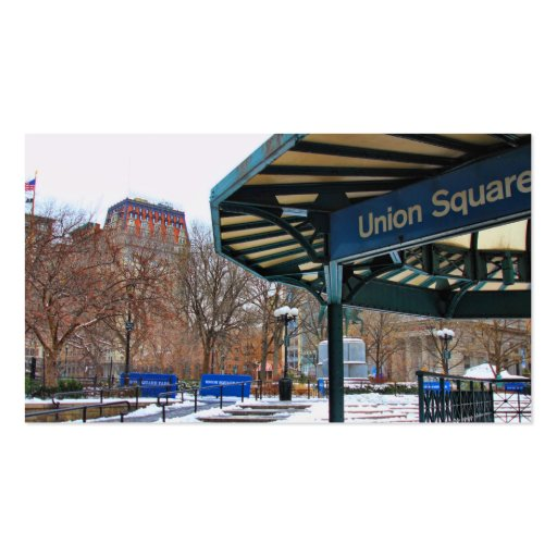 NYC Snowy Union Square in Winter Business Card Template