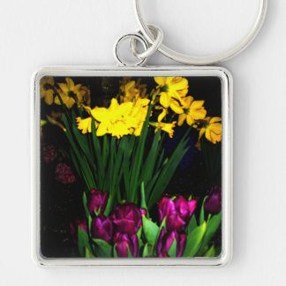 NYC Spring Flowers CricketDiane Art & Photography Silver-Colored Square Key Ring