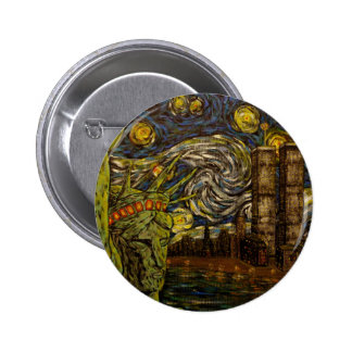 NYC Starry Night.: Twin Towers (The True Towers) 6 Cm Round Badge
