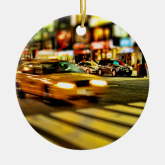 NYC Taxi Abstract Christmas Ornament