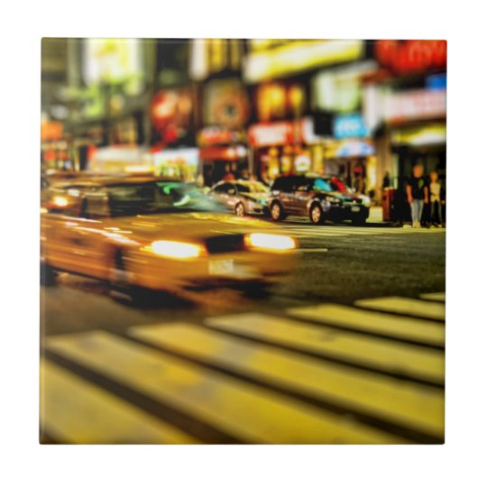 NYC Taxi Abstract Small Square Tile