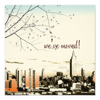 """NYC/twin towers skyline/moving announcement 5.25"""" Square Invitation Card"""